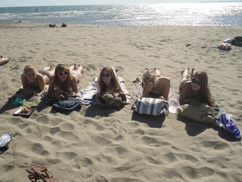 International high school student tanning